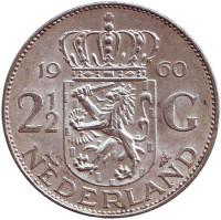 Монета 2,5 гульдена. 1960 год, Нидерланды.