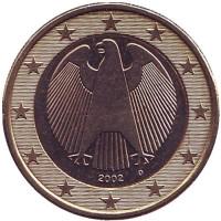 Монета 1 евро. 2002 год (D), Германия.