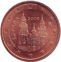 Монета 2 цента. 2008 год, Испания.