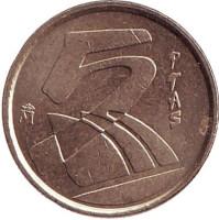 Монета 5 песет. 2000 год, Испания.