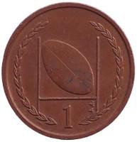 Мяч для регби. 1 пенни, 1999 год, Остров Мэн. (AA)