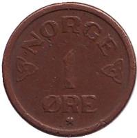 Монета 1 эре. 1953 год, Норвегия.