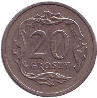Монета 20 грошей. 1996 год, Польша.