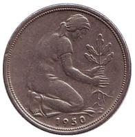 Женщина, сажающая дуб. Монета 50 пфеннигов. 1950 (D) год, ФРГ.