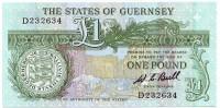 Банкнота 1 фунт. 1980-89 гг., Гернси. (Подпись: W. C. Bull)