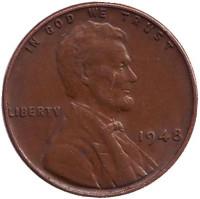 Линкольн. Монета 1 цент. 1948 год (P), США.