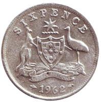 Монета 6 пенсов. 1962 год, Австралия.