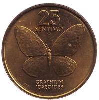 Бабочка. Монета 25 сентимо. 1985 год, Филиппины. UNC.