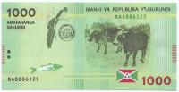Банкнота 1000 франков. 2015 год, Бурунди.
