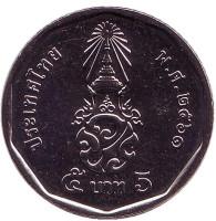 Король Рама X. Монета 5 батов. 2018 год, Таиланд.