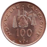 Хижина островитян. Монета 100 франков. 1984 год, Новая Каледония.