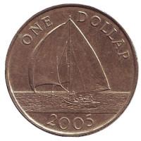 Парусник. Монета 1 доллар. 2005 год, Бермудские острова.