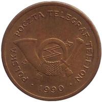 Телефонный жетон. 1990 год, Польша. (С). С отметкой монетного двора. Диаметр 25 мм.