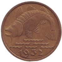 Треска. Монета 10 пфеннигов. 1932 год, Данциг.
