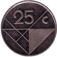 Монета 25 центов, 1990 год, Аруба.