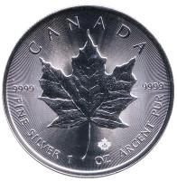 Кленовый лист. Монета 5 долларов. 2017 год, Канада.
