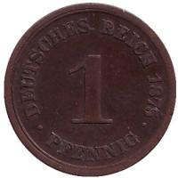 Монета 1 пфенниг. 1875 год (D), Германская империя.