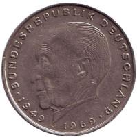 Конрад Аденауэр. Монета 2 марки. 1970 год (D), ФРГ. Из обращения.