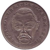 Людвиг Эрхард. Монета 2 марки. 1990 год (J), ФРГ.