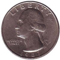 Вашингтон. Монета 25 центов. 1987 (P) год, США.