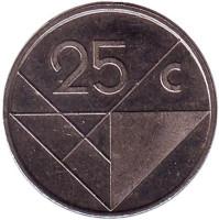 Монета 25 центов. 1986 год, Аруба.