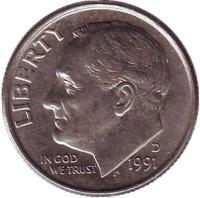 Рузвельт. Монета 10 центов. 1991 (D) год, США.