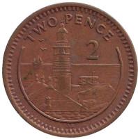 "Маяк. Монета 2 пенса. 1990 год, Гибралтар. (Отметка ""AB"")"