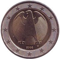 Монета 2 евро. 2002 год (D), Германия.