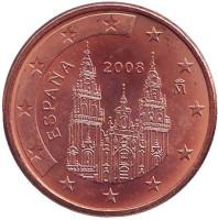 Монета 5 центов. 2008 год, Испания.