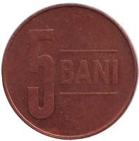 Монета 5 бани. 2010 год, Румыния.