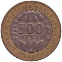 Монета 500 франков. 2005 год, Западная Африка.