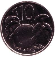 """Апельсин. Монета 10 центов. 1975 год, Острова Кука. (Отметка монетного двора: """"FM"""")."""