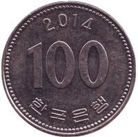 Монета 100 вон. 2014 год, Южная Корея.