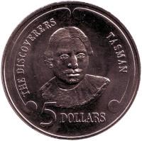 """Абел Тасман. Серия """"Первооткрыватели"""". Монета 5 долларов. 1992 год, Новая Зеландия."""