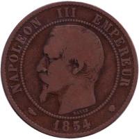Наполеон III. Монета 10 сантимов. 1854 год (MA), Франция.