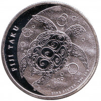Черепаха. Монета 2 доллара. 2012 год, Фиджи.
