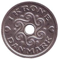 Монета 1 крона. 1997 год, Дания.