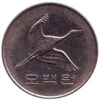 Маньчжурский журавль. Монета 500 вон. 2006 год, Южная Корея.