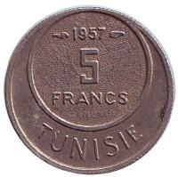 Монета 5 франков. 1957 год, Тунис.
