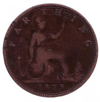 Монета 1 фартинг. 1879 год, Великобритания.