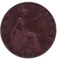 """Монета 1 пенни. 1912 год, Великобритания. (Отметка: """"H"""")"""