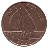 Парусник. Монета 1 доллар. 2009 год, Бермудские острова.