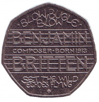100-летие со дня рождения Бенджамина Бриттена. Монета 50 пенсов, 2013 год, Великобритания.