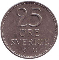 Монета 25 эре. 1973 год, Швеция.