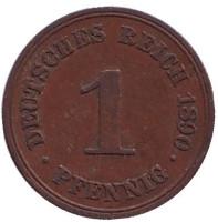 Монета 1 пфенниг. 1890 год (A), Германская империя.