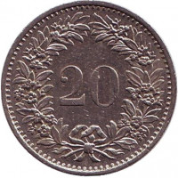 Монета 20 раппенов. 1976 год, Швейцария.