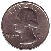 Вашингтон. Монета 25 центов. 1988 (D) год, США.