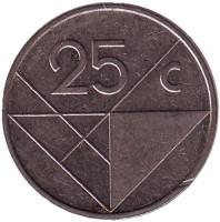 Монета 25 центов. 1988 год, Аруба.