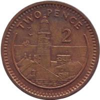 "Маяк. Монета 2 пенса. 1991 год, Гибралтар. (Отметка ""AB"")"