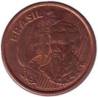 Педру Алвариш Кабрал. Монета 1 сентаво. 2004 год, Бразилия.